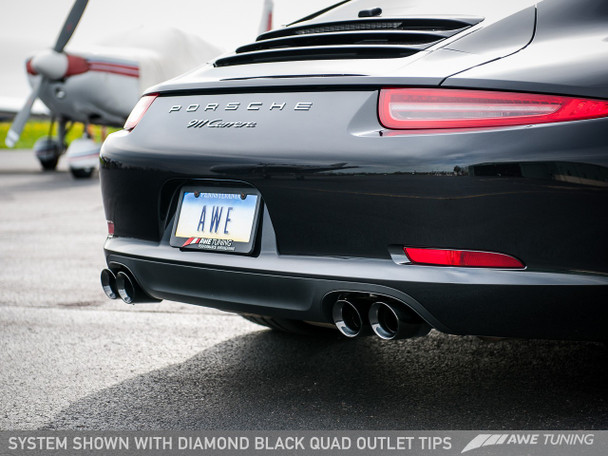 AWE Performance Exhaust for 991 (12-16) Carrera - Diamond Black Tips