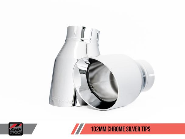 AWE Center Muffler Delete for Porsche 991 (15-19) GT3 / RS - Chrome Silver Tips
