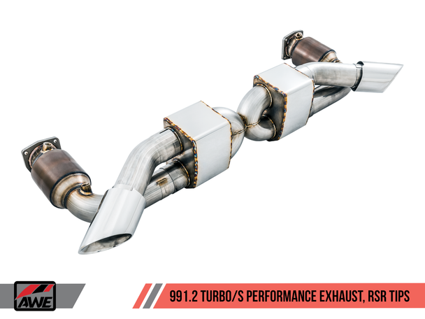 AWE Performance Exhaust and High-Flow Cat Sections for Porsche 991 Turbo - Diamond Black RSR Tips