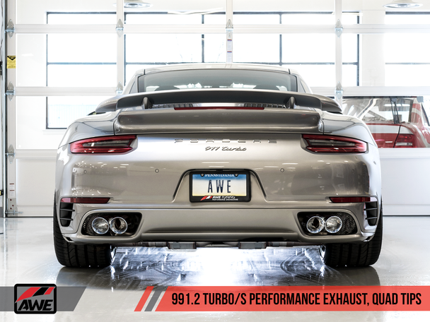 AWE Performance Exhaust and High-Flow Cat Sections for Porsche 991.2 Turbo - With Chrome Silver Quad Tips