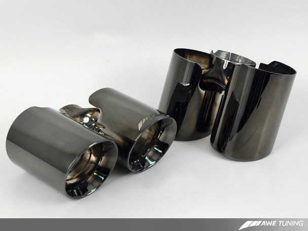AWE Performance Muffler with 200 Cell Cats for 997 Turbo - Diamond Black Tips