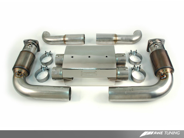 AWE Performance Muffler with 200 Cell Cats for 997 Turbo - Polished Silver Tips