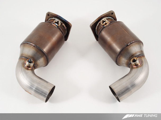 AWE Performance High Flow Cat Sections for Porsche 997.2 (10-12) Turbo / S - for OE Muffler