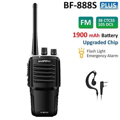 Upgraded BF-888S Plus UHF 400-470MHz Walkie Talkie Two Way Ham Radio + Earpiece
