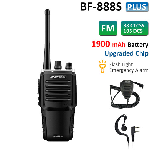 BF-888S Plus Walkie Talkie Long Range UHF Two Way Radio 5W + Speaker Mic