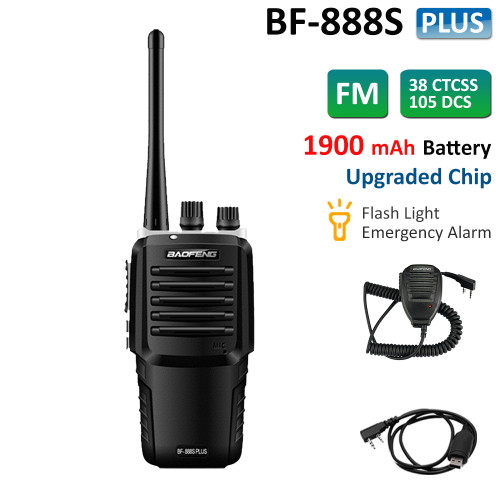 BF-888S Plus UHF 400-470MHz Walkie Talkie Long Range 1900mah Two Way Transceiver + Speaker Mic + USB Cable