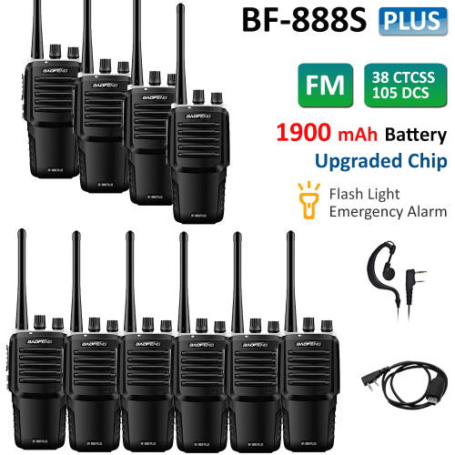 10x Baofeng BF-888S Plus UHF 400-470 Two Way Ham Radio FM Walkie Talkies 5W + Free USB Cable