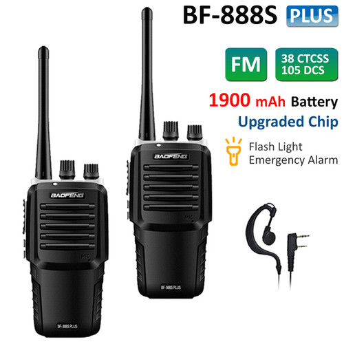 2x Upgraded Baofeng BF-888S Plus UHF 400-470MHz Walkie Talkies Long Range Two Way Ham Radio with Headsets