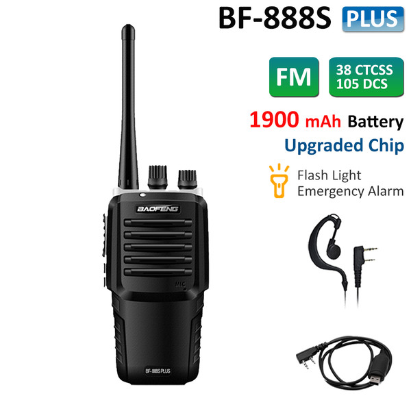 Upgraded BF-888S Plus UHF 400-470MHz Walkie Talkie Rechargeable Two Way Ham Radio + Programming Cable