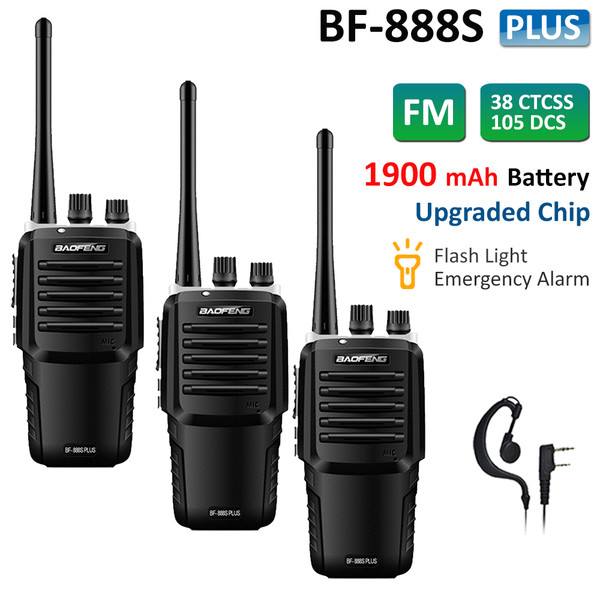 3x BAOFENG BF-888S Plus Walkie Talkie UHF Two Way FM Radio Long Range + Earpiece
