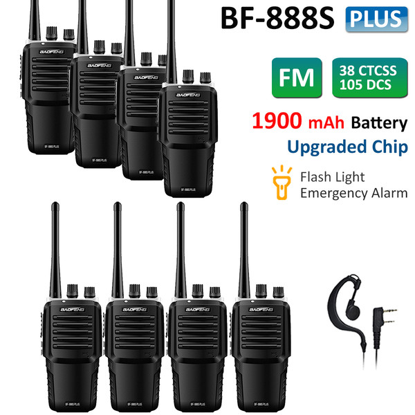8x BaoFeng BF-888S Plus UHF Walkie Talkies Rechargeable Two Way Radio + Earpiece