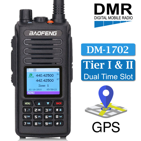 BAOFENG GPS DM-1702 Digital Analog DMR Walkie Talkie Long Range Two Way Radio + Free Earpiece