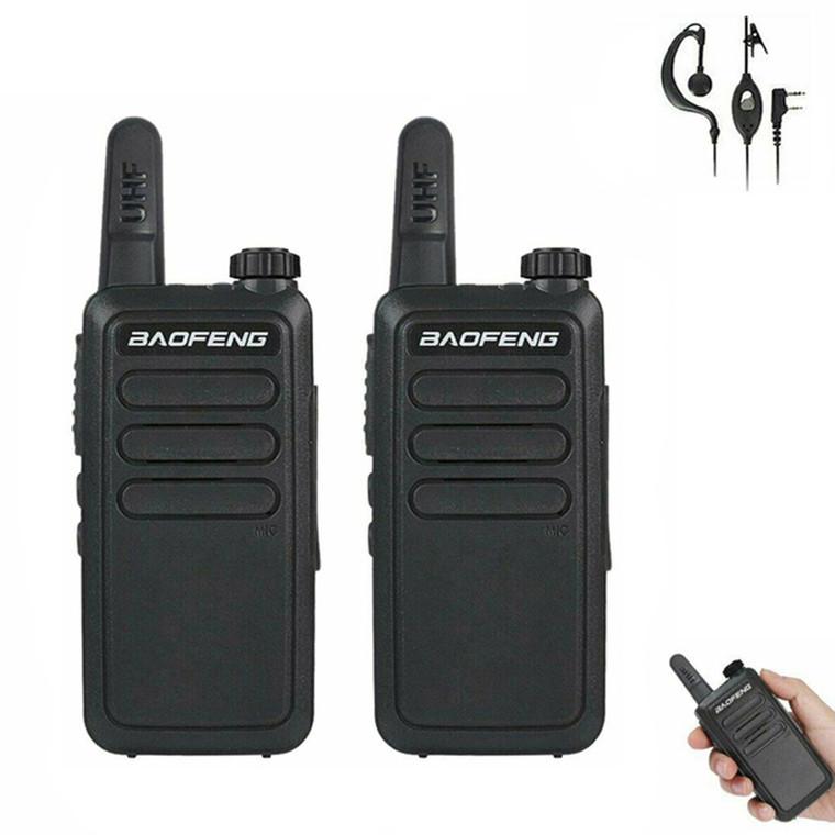 2 x Baofeng BF-R5 Mini & Slim Walkie Talkie UHF 400-470MHz Two Way Ham Radio + Earpiece