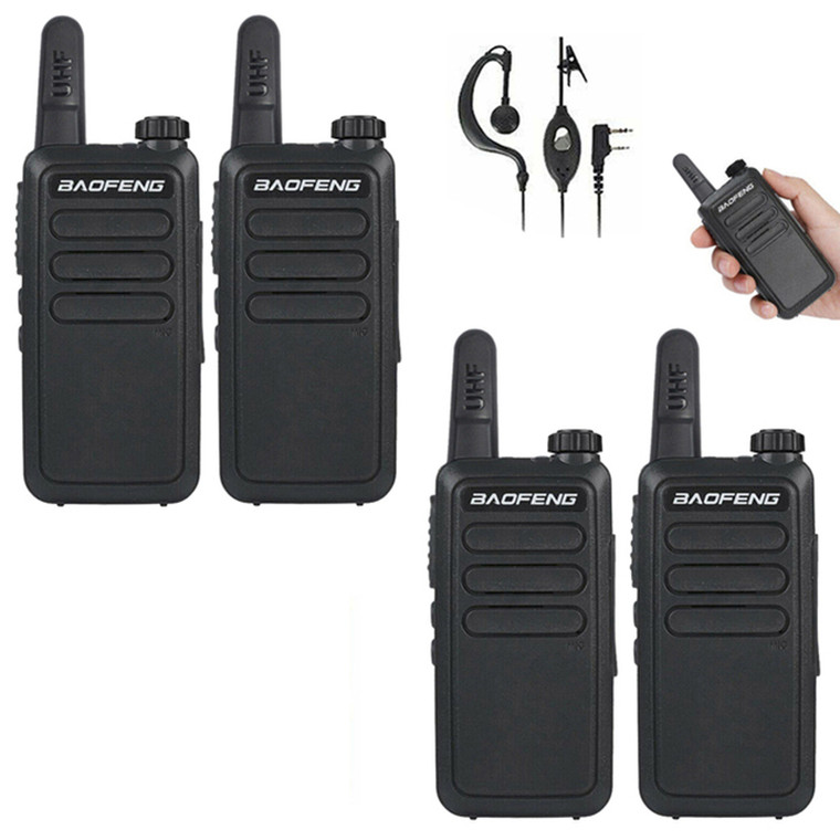 4x Baofeng BF-R5 UHF 400-470MHz Walkie Talkie Rechargeable Two Way Ham Radio + Headset