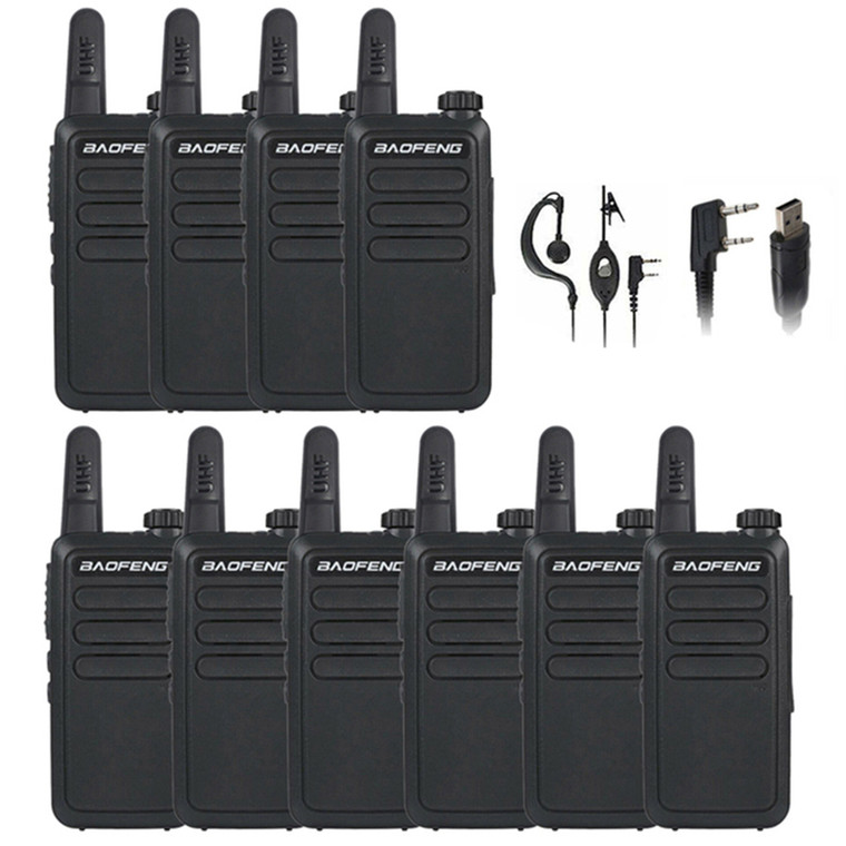 10 x Baofeng BF-R5 UHF Two Way Radio Walkie Talkies with Free Programming Cable