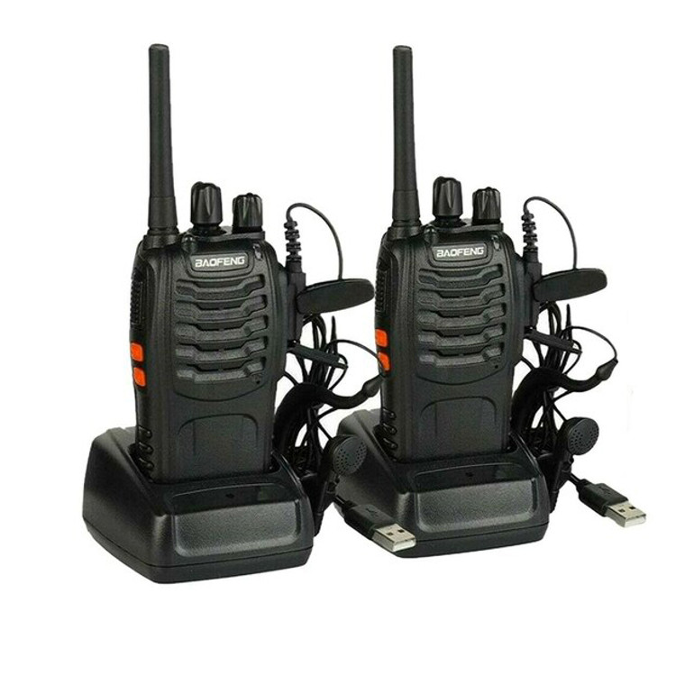 2x BF-888S PMR446 Walkie Talkies Long Range Two Way Radio License-Free with Earpieces