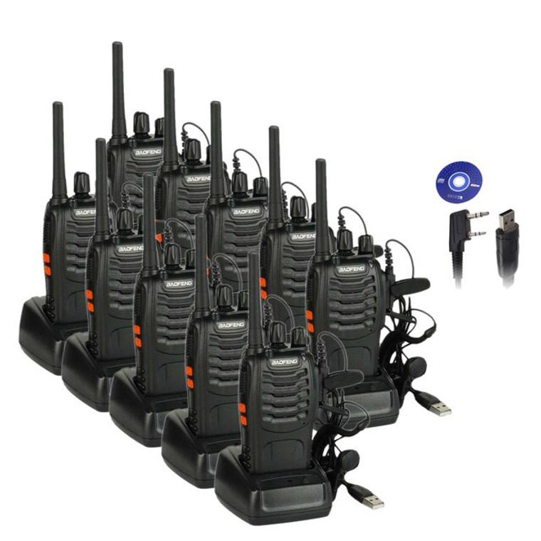10x Baofeng PMR446 Walkie Talkies Long Range VOX Two Way Ham Radio + Programming Cable