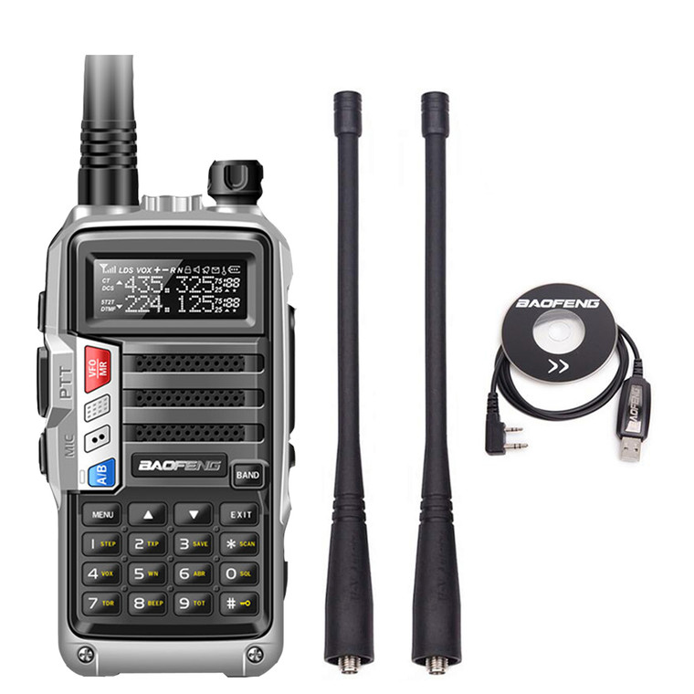 Baofeng UV-S9 Tri-Band UHF VHF 136-174/220-260/400-520MHz Walkie Talkie 8W W/ Cable