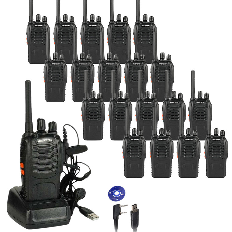 20 x Baofeng BF-88E PMR446 Walkie Talkies Long Range Two Way Ham Radio + Free Programming Cable