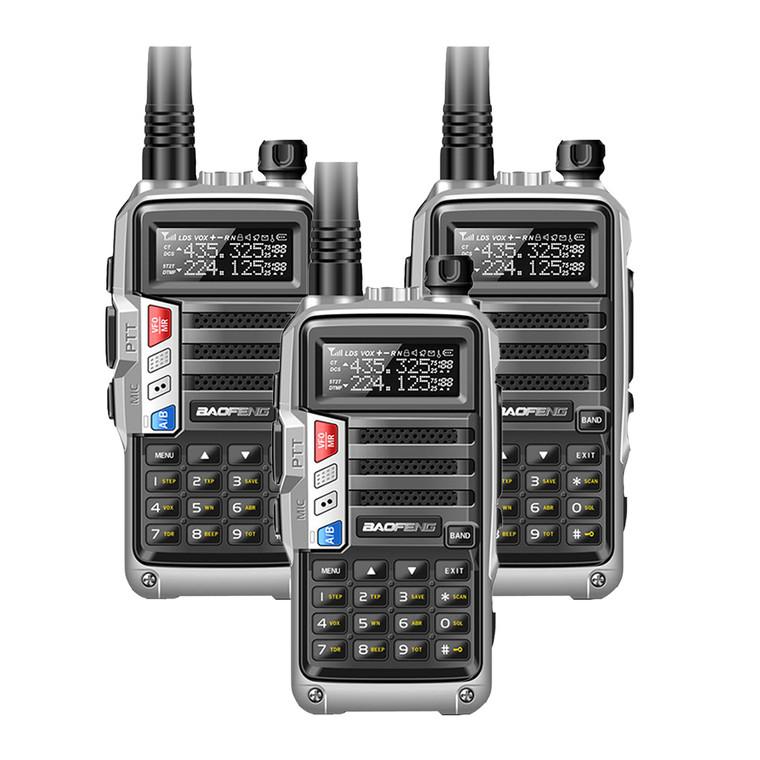 3 x Baofeng UV-S9 Tri-Band VHF/UHF Silver Walkie Talkies Long Range FM Radio