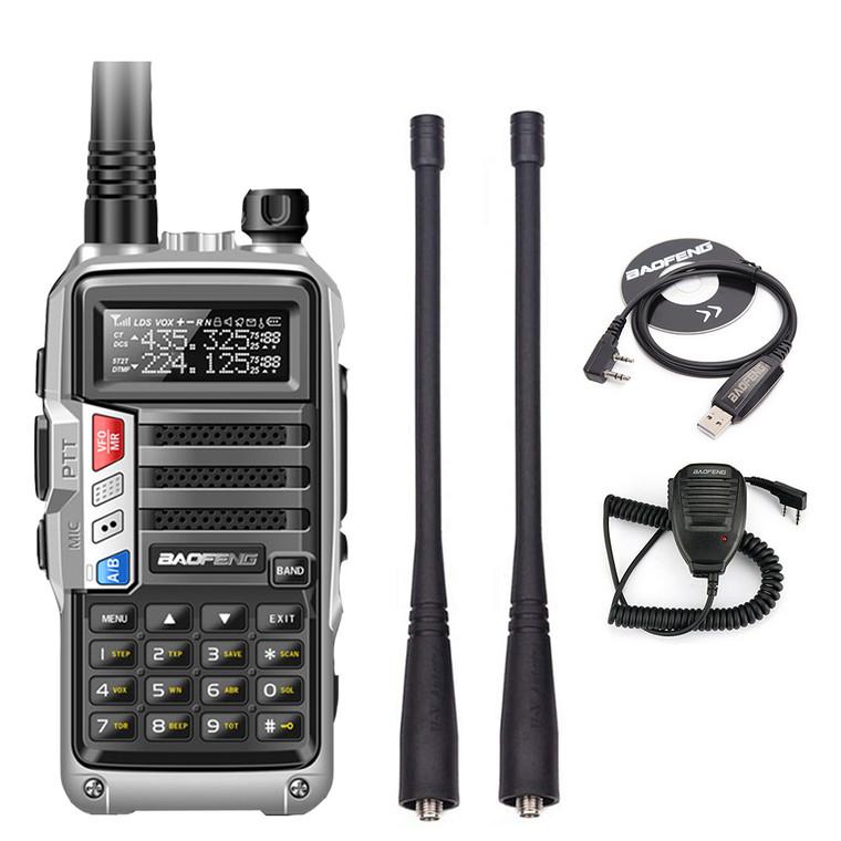 Baofeng UV-S9 VHF/UHF Tri-Band 8W Silver Walkie Talkie Ham Radio + Speaker Mic + USB Cable