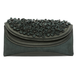 AUDREY. SUEDE FLOWER CLUTCH