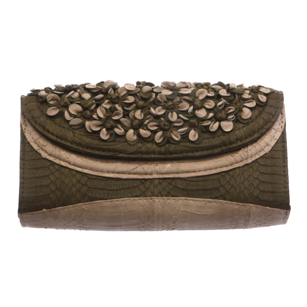 Audrey Python with Flowers - Clutch