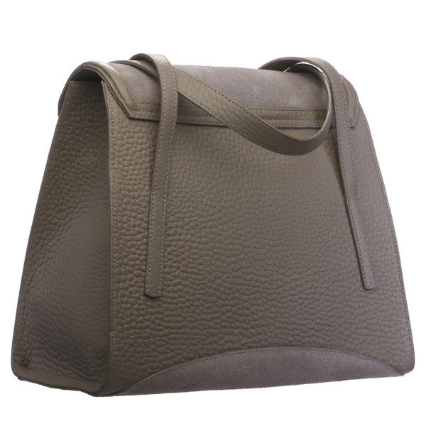 JULIA. SUEDE TRAPEZOID TOP HANDLE BAG
