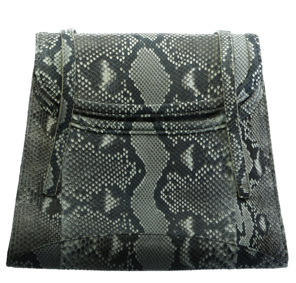 JULIA. PYTHON TRAPEZOID TOP HANDLE BAG