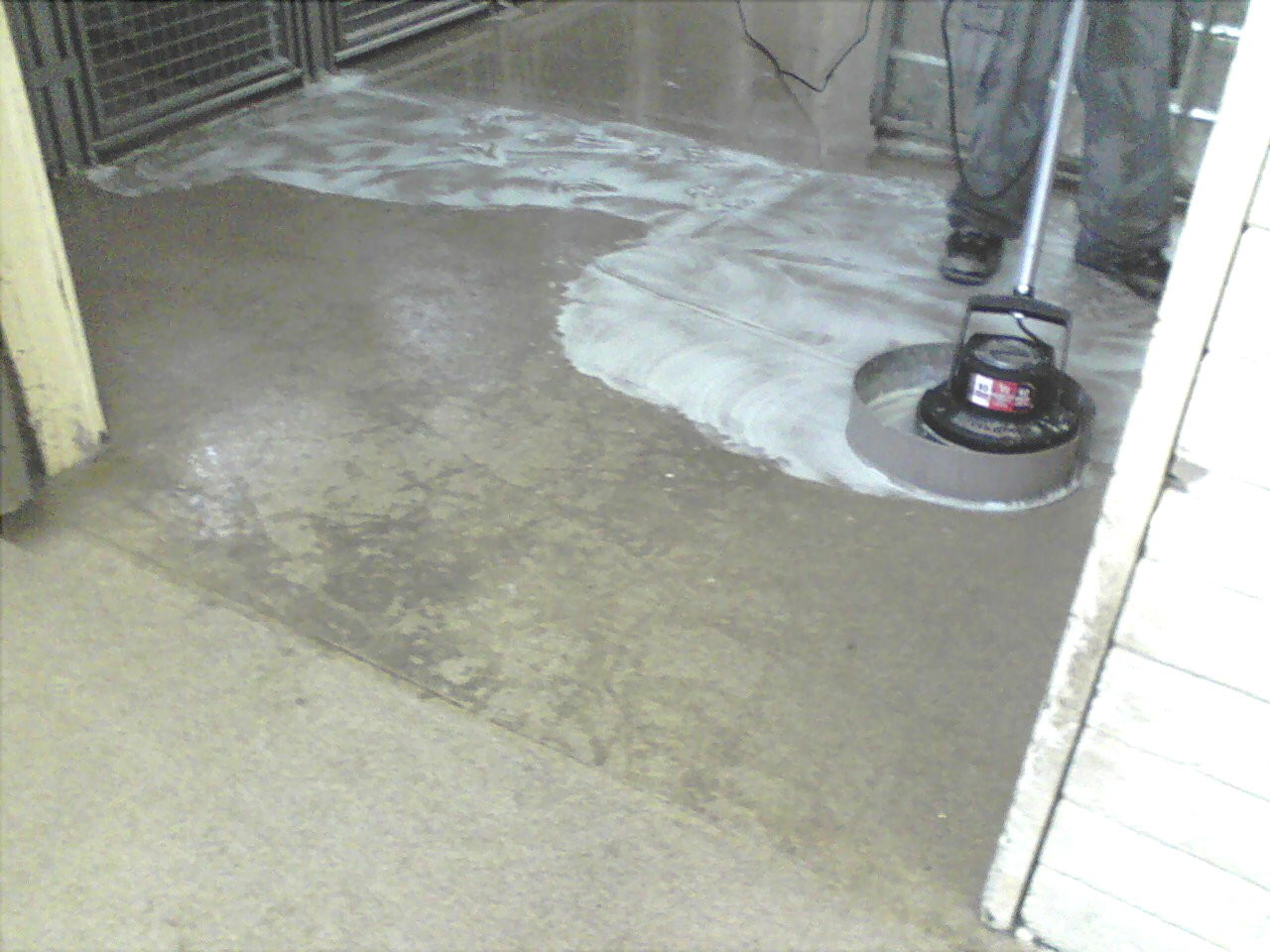 Kennel cleaner treating kennel floor with special flooring surface.