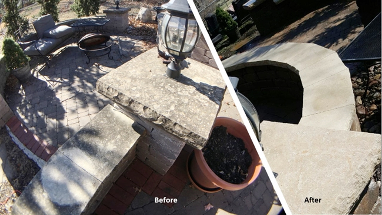 Lime stone  over pavers before and after