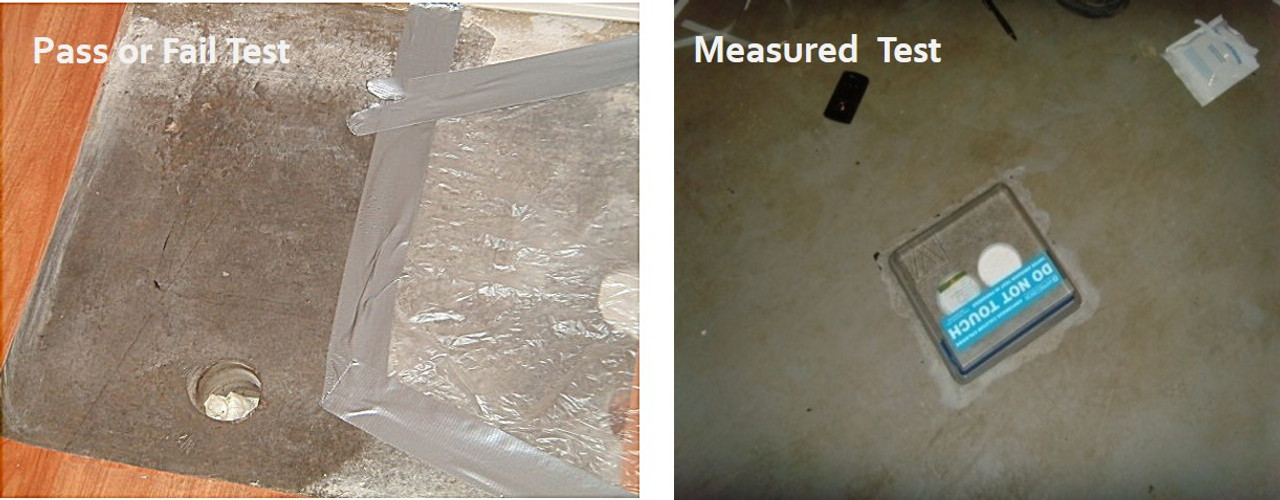 Left picture shows Old Plastic - Test results are pass or fail.   Right picture  shows Calcium Chloride test - Test results provide numeric results for more accuracy in measuring humidity.