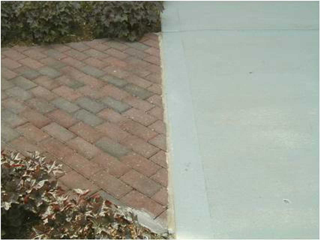 Clean and seal expansion joint between paver walkway and concrete driveway