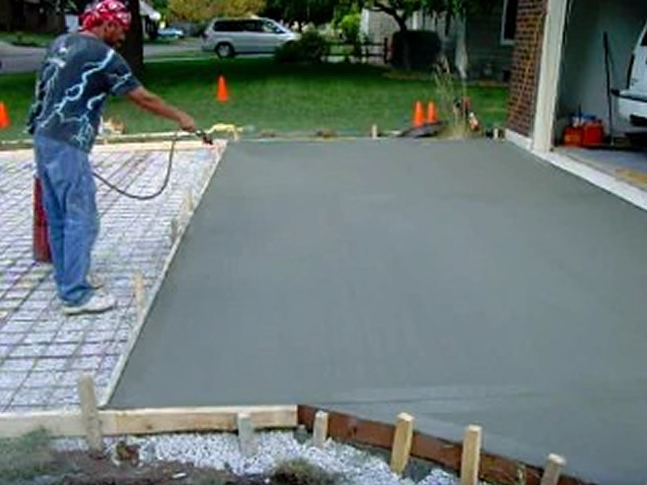 SealGreen Cure and SEal Sealer is applied as the concrete is installed