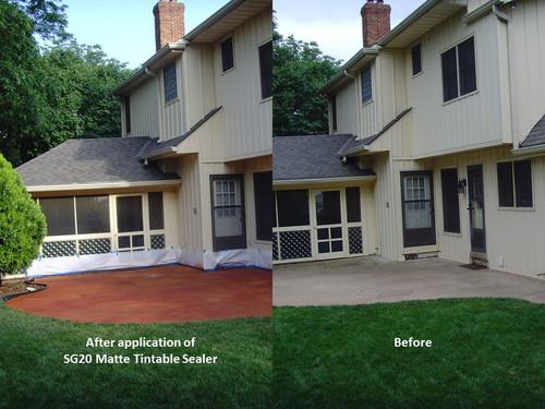 Outside plain concrete patio restore with SG20 SealGreen Tintable Sealer