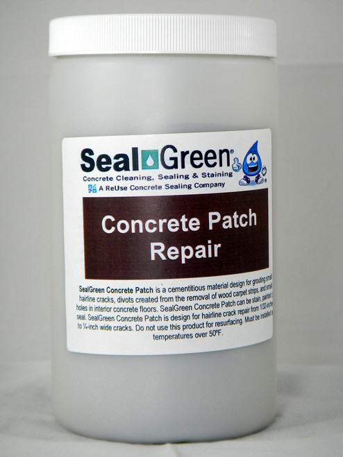 SealGreen Concrete Patch Repair material is ideal for filling small cracks and divots on concrete. This product can be painted, stain or seal.