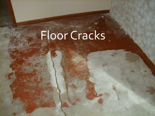 Typical floor crack in old basement floor