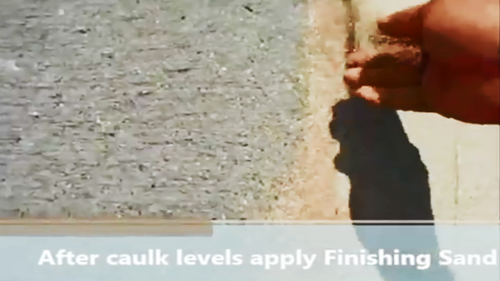 Apply finishing sand to cover lightly the exposed fresh caulk.