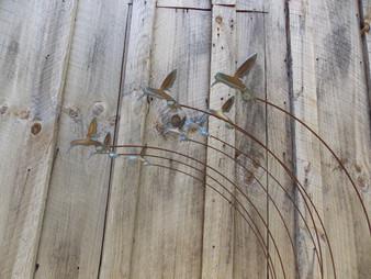 Metal Yard Art Hummingbird sculputre with flock of 8 Hummingbirds by The Lazy Scroll