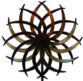 Kinetic Metal Yard Art Double Motion Spinner Natural Metal Color