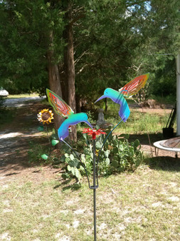 Handcrafted Metal Kinetic Garden Sculpture 2 Painted Hummingbirds