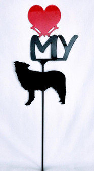 Australian Shepherd Love(heart) Yard Sign Metal Silhouette