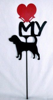 Beagle  Love(heart) Yard Sign Metal Silhouette