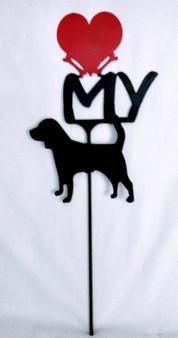 Beagle  Love(heart) Yard Sign Metal Silhouette