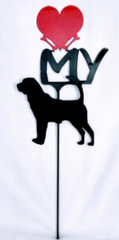 Bloodhound  Love(heart) Yard Sign Metal Silhouette