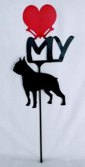 Boston Terrier  Love(heart) Yard Sign Metal Silhouette