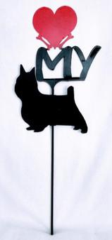 Silky Terrier  Love(heart) Yard Sign Metal Silhouette