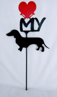 Dachshund Love(heart) Yard Sign Metal Silhouette