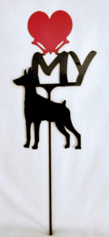 Doberman Love(heart) Yard Sign Metal Silhouette