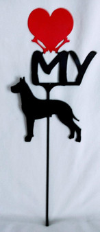 Great Dane Love(heart) Yard Sign Metal Silhouette
